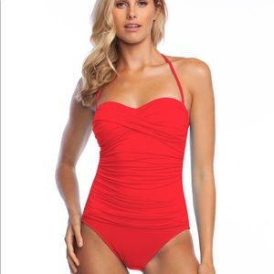 La Blanca Red One Piece Swimsuit